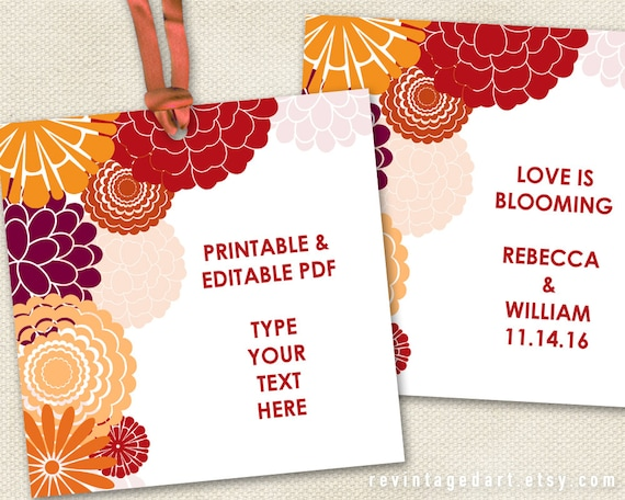 Printable Floral Gift Tags // Autumn Tags, Fall Tags, Autumn Bouquet ...