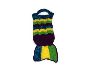 Mermaid Tail Tote  Crochet Tote Bag  Girls Tote Colorful Bag Plumb Variegated Blue Bright Yellow Bright Green