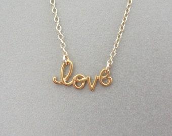 Cursive Love Gold Necklace - Love Charm Necklace - Gold Necklace