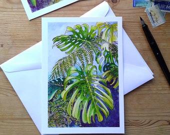 Greeting Card - Tropical Leaf Watercolour Design