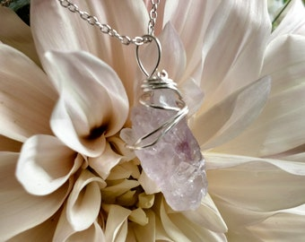 Amethyst Crystal in Sterling Silver  Necklace