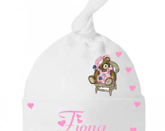 Baby Hat bow baby Teddy bear in Chair personalized with name