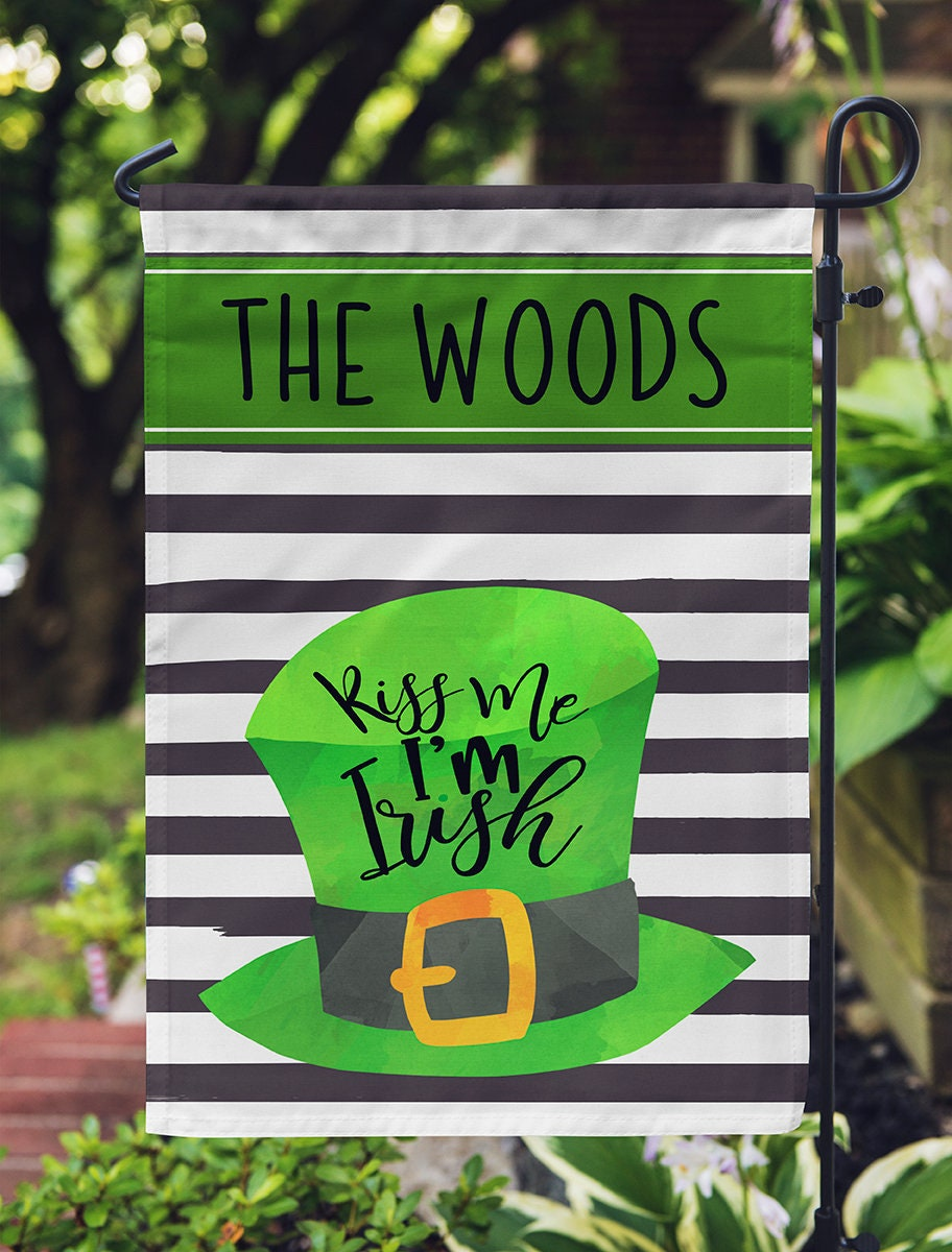 Personalized Garden Flag St. Patty\'s Hat with Name