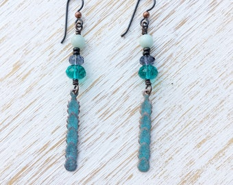 Amazonite Earrings, Enameled Earrings, Long Earrings, Dangle Earrings, Hypoallergenic Niobium Earrings, Boho Jewelry, Boho Earrings Handmade