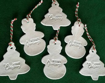 Set of 6 large clay Christmas hanging decorations, snowmen & Christmas trees