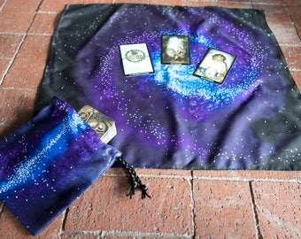 Spiral Galaxy Tarot Bag and Cloth Set in Blue, Purple and Black