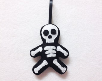 Skeleton Ornament, Halloween Ornament, Christmas Ornament, Sam the Skeleton - Made to Order, Day of the Dead, Gift for Doctor