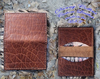 Shrunken Bison Leather Business Card Case, Bisiness card wallet