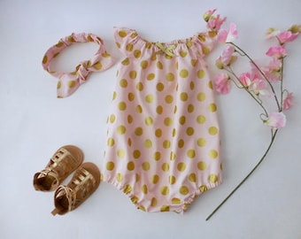 Sunsuit romper playsuit for babies and toddlers pink with gold metallic dots