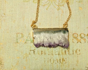 Amethyst Crystal Necklace • Gold Dipped