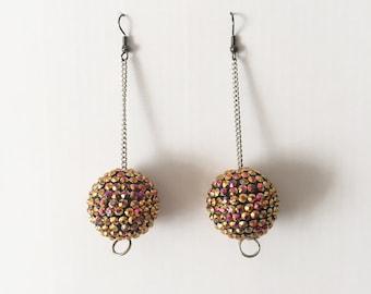 Handmade 70s 90s Club Kid Space Age Mod Gold Rhinestone Disco Ball drop Earrings