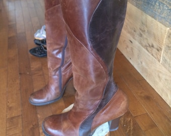 Vintage - boots - boot - Kenneth Cole reaction - patchwork - pump - brown - leather - made in Brazil - 10