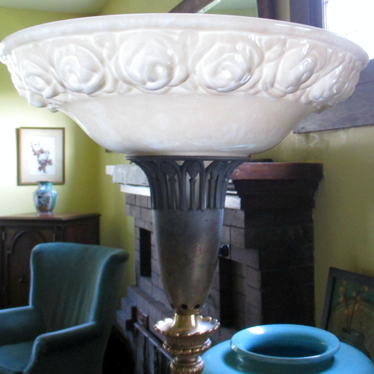 Antique torchiere floor lamp original glass shade with raised zoom aloadofball Choice Image