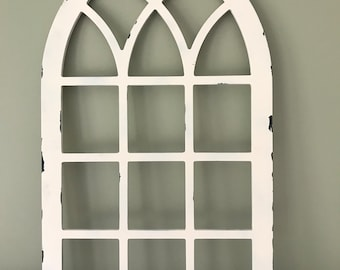 Distressed Arched Farmhouse frame, faux window, arched, custom arch, shabby chic, wall hanging wall decor, shutter, vintage inspired chippy