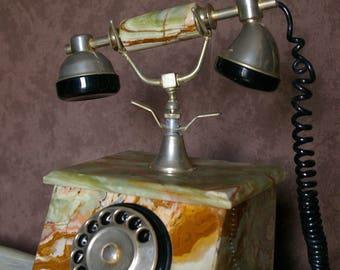 Phone, former marble onyx TBE works vintage retro Castle