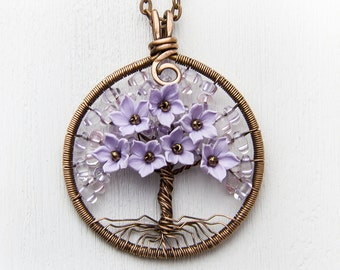 Tree-Of-Life Necklace Сoworker-gift Copper Wire Wrapped Pendant Brown Wired Copper Jewelry Wire Wrap Family Tree Chips Lilac flowers JF18