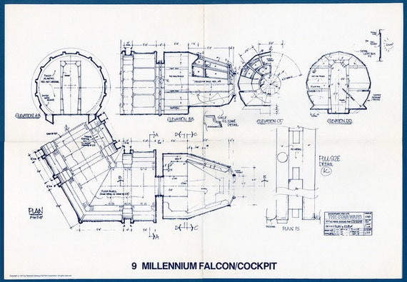 1977 MILLENNIUM FALCON Cockpit Star Wars Vintage Blueprint