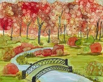 Autumn in the park, Alcohol inks, framed-bridge-autumn colors-peaceful setting-original piece-gift for her-home decor