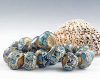 Lampwork Glass Beads, Handmade lampwork bead set, jewelry supplies, lampwork beads, lampwork spacer beads, artist lampwork, Low Tide