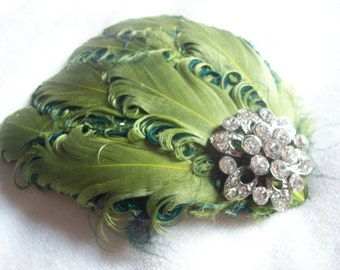 New handmade 1920s inspired green feather fascinator