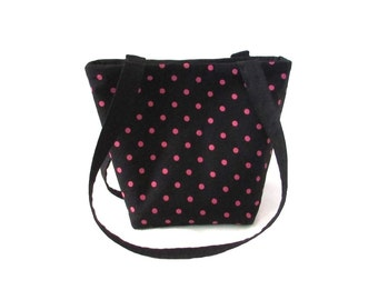 Black Purse, Polka Dot Purse, Small Fabric Bag,  Pink Polka Dots, Handmade Handbag, Teen Purse, Cloth Purse