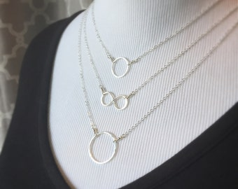 Petite Silver Circle Necklace Fine Silver Jewelry Karma Necklace Bridesmaid Gift Minimalist Jewelry Classic Necklace Friendship Necklace