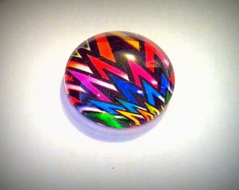 Punk Color cabochon, glass round 20mm, black and multicolor