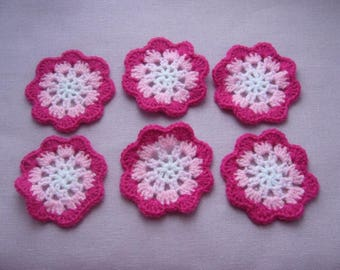 Set of 6 flower granny made wool hand crochet - four shades of pink