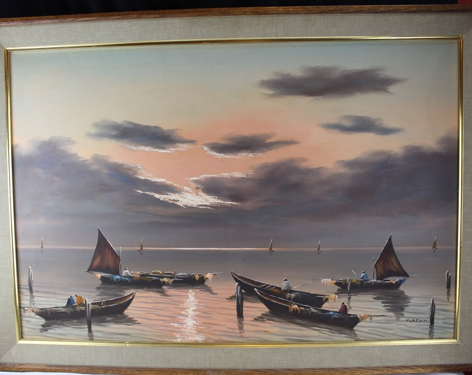 Vintage Oil Painting On Canvas Seascape Boats Sunset Asian Large Wall Decor-Karami, Iran
