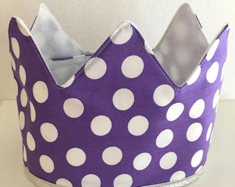 Fabric Crown | | Purple with Dots