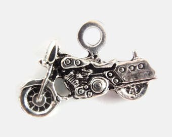 5 Antiqued Silver Color Motorcycle Pendant / Charm, Jewelry Making Supply, Tibetan Style Alloy Plated, LEAD & CADMIUM FREE