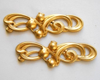 2 large raw brass art nouveau openwork Lily of the Valley connectors, brass stampings, 56 x 18mm, made in the USA C4501