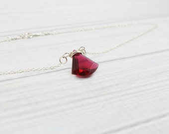 Ruby Birthstone Necklace, Delicate Minimalist Necklace, Minimal Dainty Necklace, Thin Small Necklace, Gemstone Necklace, July birthstone