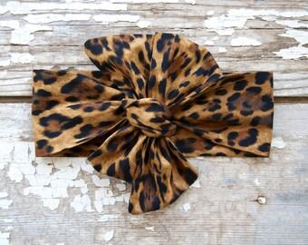Headwrap Baby Girl Headwrap Animal Print Headband Leopard Print Leopard Headband Big Bow Headwrap Baby Gift Girl Head Wraps Newborn Headband