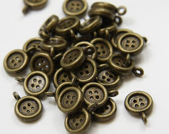 30pcs Antique Brass Tone Base Metal Charms-Button 9x13mm (14135Y-E-172B)