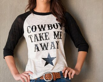 Cowboy take Me Away Alternative Apparel Big Burnout Baseball tee