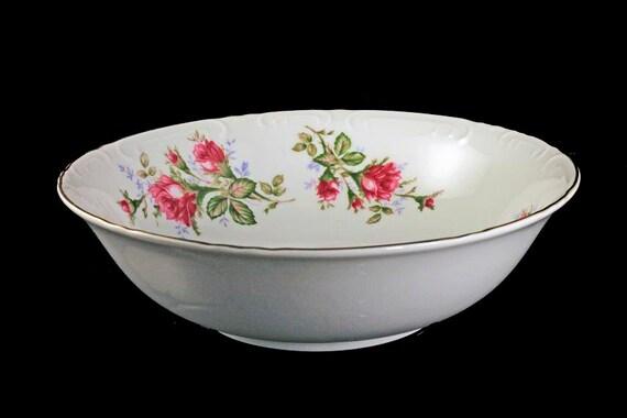 Vegetable Bowl, Grant Crest, Royal Rose, Fine China, Made in Japan, Embossed Edge, Gold Trimmed, Serving Bowl