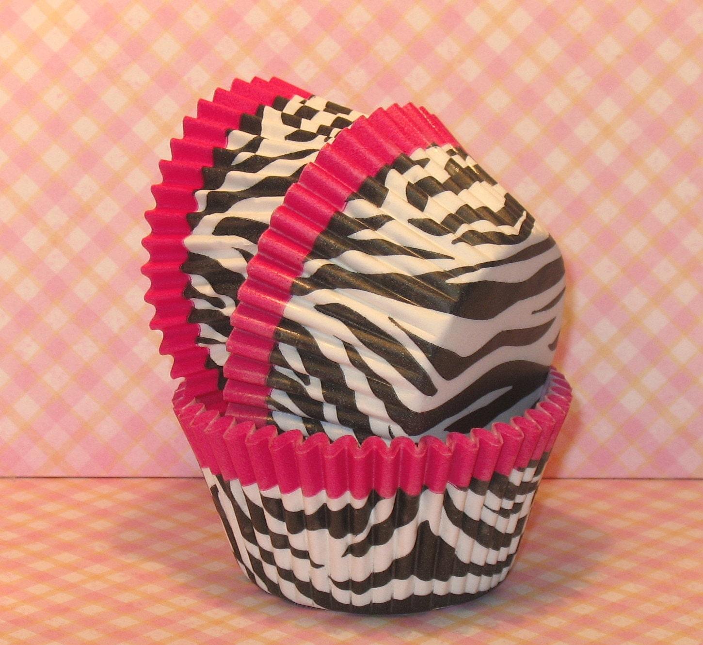 Hot Pink Trim Zebra Print Cupcake Liners Qty 32 Pink Zebra