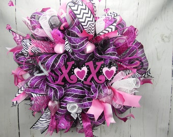 XOXO Valentines Day Wreath, Pink White Black Wreath, Valentines Day Wreath, Decomesh Wreath, Valentines Day Decor, Cupid Wreath, Love Wreath