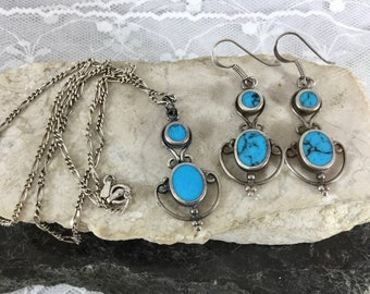 Vintage 925 Sterling Silver Southwest Style Jewelry Set Turquoise Pendant Necklace Dangle Drop Earrings