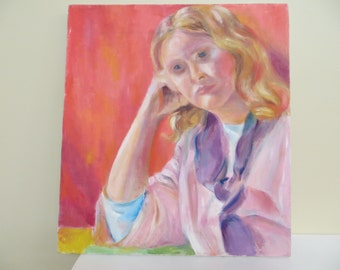 Vintage Painting Portrait woman / Mid Century MODERN / 17 by 19 inches / Stretched canvas / Great shape
