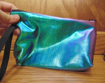 Oil Slick Black Fabric Clutch Bag | Beetle Wing Inspired Clutch Bag | Cotton Clutch