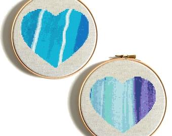 Watercolor Heart Cross Stitch Pattern PDF Wedding cross stitch Heart counted cross stitch funny cross stitch Modern Embroidery