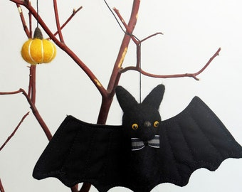 Bat Halloween decor : needle felted bat ornament with a bow tie and yellow pumpkin