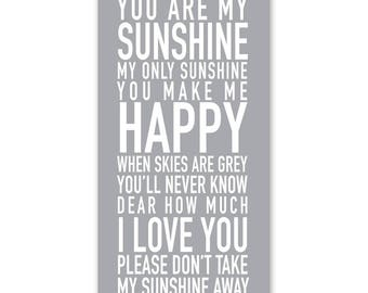 You Are My Sunshine My Only Sunshine Sign, You Are My Sunshine Print, Nursery Rhyme You Are My Sunshine Print, Childrens Sign