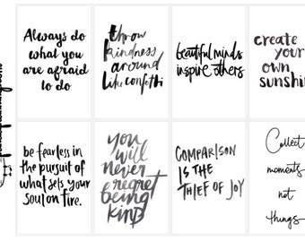 Planner Quote Boxes- Monochrome Script full box happy planner erin condren matte glossy weekly planner kit motivational quotes
