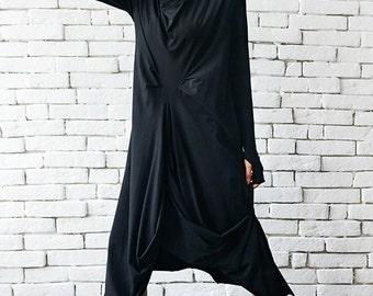 High Quality Black Maxi Dress / Asymmetrical Loose Oversize Tunic / Long Sleeve Thumb Hole Maxi Black Dress by METAMORPHOZA