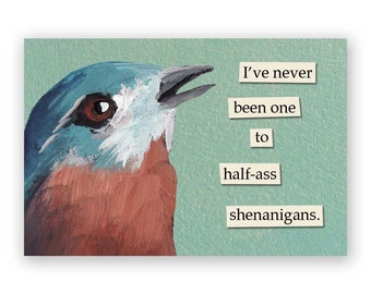 Shenanigans Magnet - Bird - Humor - Gift - Mincing Mockingbird - Stocking Stuffer