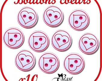 LOT 10 buttons hearts white & red SCRAPBOOKING baby COUTURE VEST
