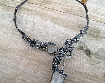 necklace with raw rock crystal